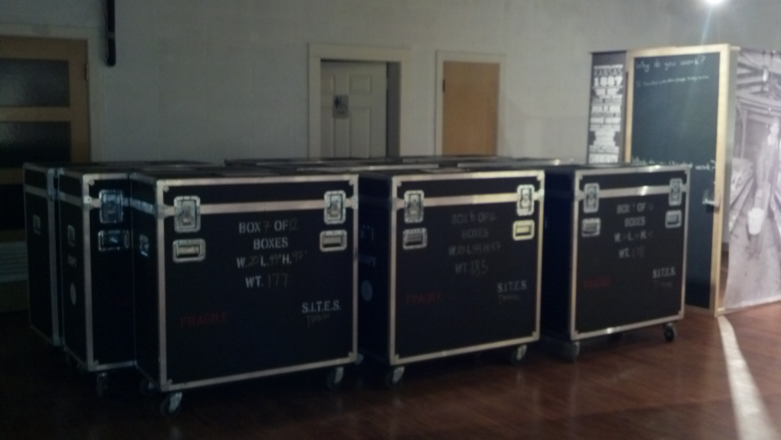 """The crates the Smithsonian exhibit """"The Way We Worked"""" arrived in."""