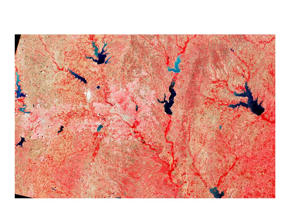 "An image captured by a landsat.  According to NASA ""the Landsat Program is the longest running enterprise for acqusition of imagery of the earth from space. The first Landsat satellite was launched in 1972; the most recent, Landsat 7, was launched on April 15, 1999."""