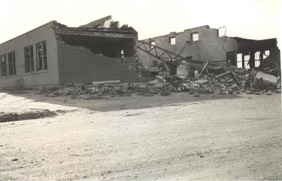High Plains Museum | PM015SCH Ruleton School after hit by tornado in 1941