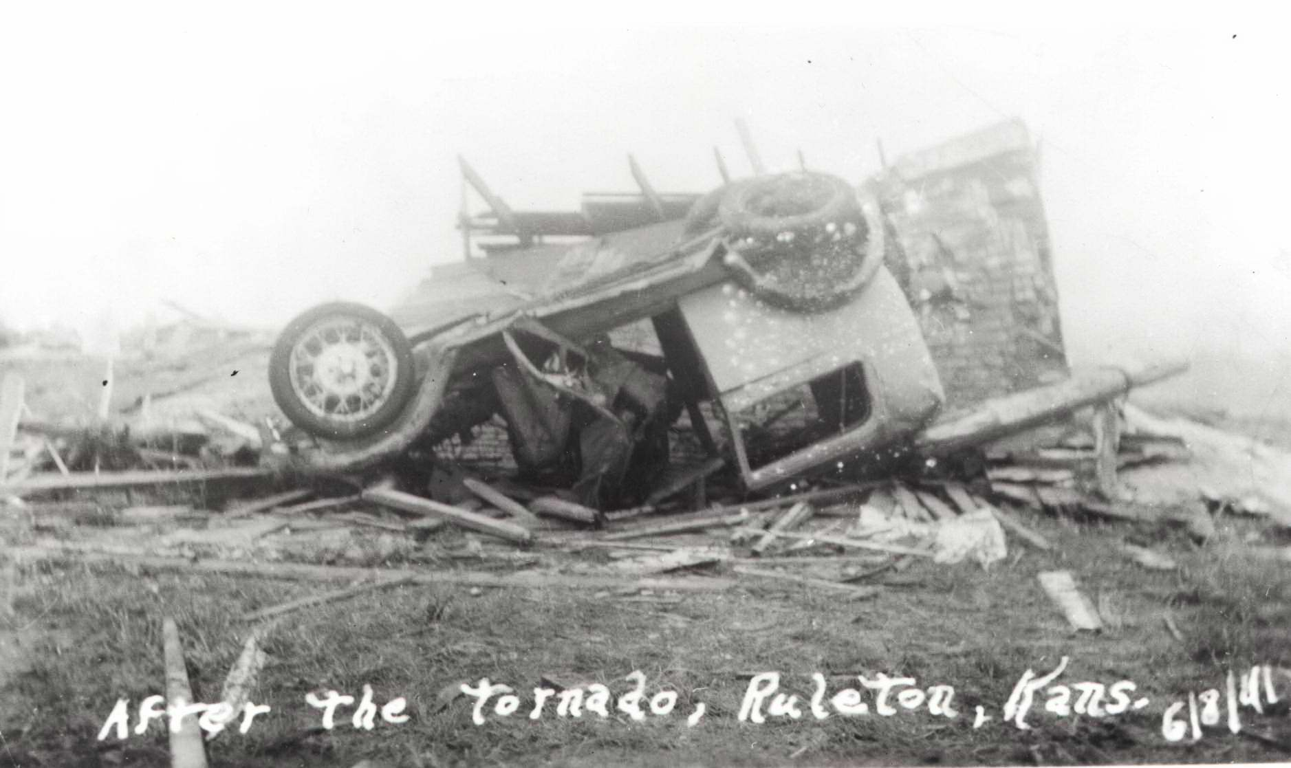 High Plains Museum | PM256MISC David Weber's model A Ford after tornado hit Ruleton in 1941.