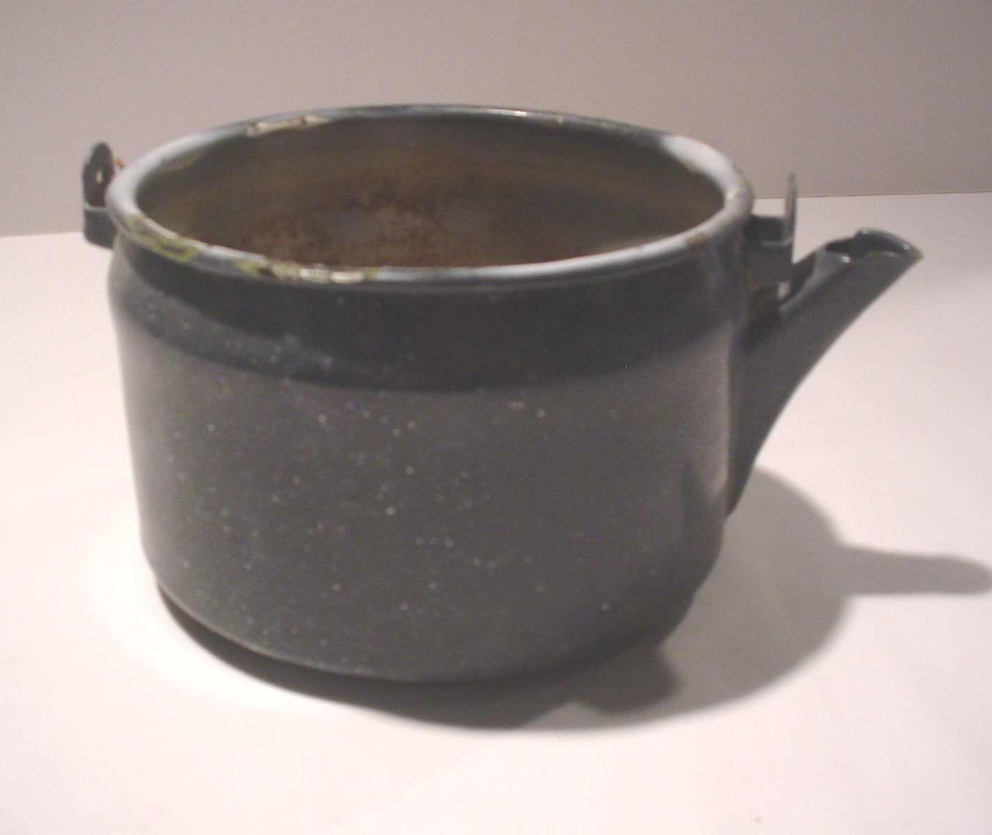 High Plains Museum | HHG343 Dark blue and white granite teakettle